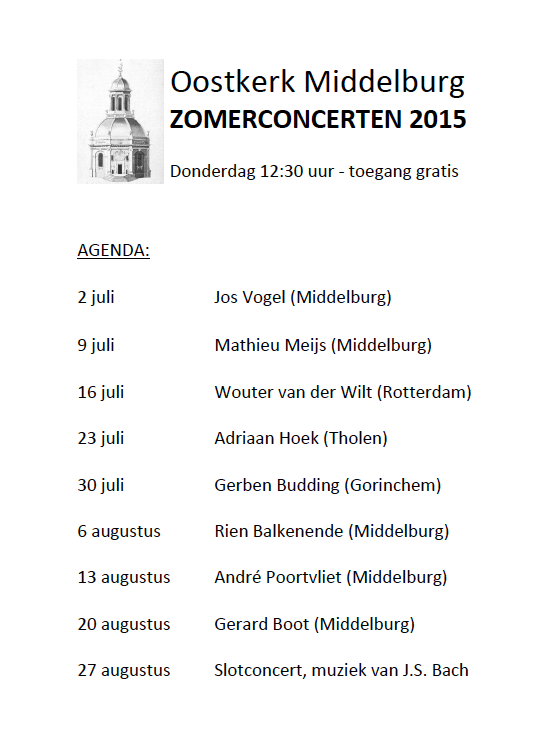 Zomerconcerten 2015 Oostkerk